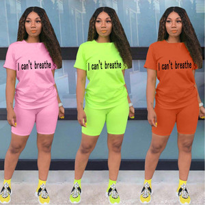 Felyn 2020 New Arrival Fashion Design two pieces Tracksuits Women Set Letters T-shirt and Shorts Summer Elastic Outfits