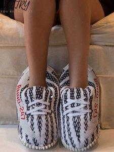 Women Winter Stripe Slippers Unisex One Size 35-43 Warm Home Slippers Women Green Indoor Snug Sneaker Warm House Floor Slides Y200628