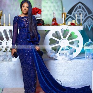 Royal Blue Sequined Appliques Mermaid Evening Dresses O Neck Long Sleeve Overskirt Formal Evening Gown Satin Africa Dress