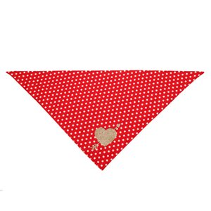 Cross border new cat and dog Valentine's Day gift pure cotton plaid love triangle scarf pet double layer saliva scarf Bib