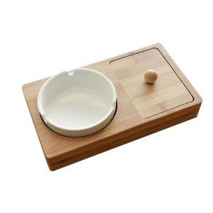 El más nuevo escritorio de madera caja de almacenamiento de material de la caja de la caja con cenicero de cerámica portátil diseño innovador para cigarrillos tabaco pipa hierba fumar