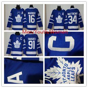 Hot vente Toronto Maple Leafs 91 John Tavares 34 Auston Matthew Mitchell 16 Marner 100% broderie Un patch C Hommes Femmes jeunes enfants