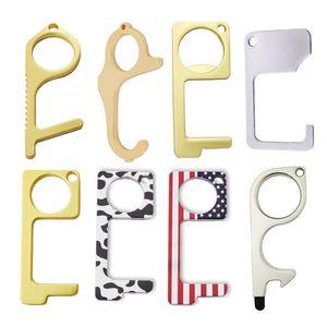 Metall Höhenverstelltaste Non-Contact-Werkzeug Türgriff Key Grip Presse Aufzug Hände Sicherheit zu halten Supplies Schlüsselanhänger Kostenloser Versand