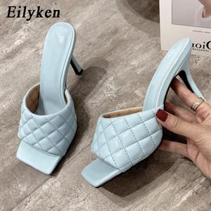 Eilyken verano mujeres mulas Diseño zapatillas toboganes únicos cuadrados sandalias de tacón 9 cm las mujeres zapatos de la mujer de verano