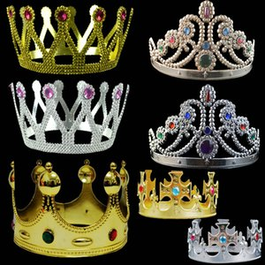 DHL Free 7 Styles Luxury Crystal Diamond King Queens Crown Hats Cosplay Holloween Party Birthday Princess Hats Caps Gold Silver Gifts