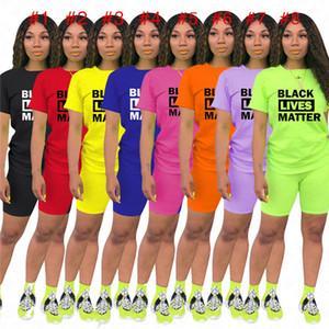 Women Designer Summer Tracksuit Black Lives Matter letter Print 2 piece Clothes Set t shirt + biker shorts casual outfit sports suit D61902