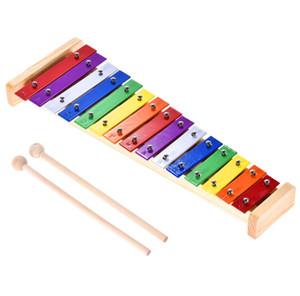 Renkli Glockenspiel Ksilofon Ahşap Alüminyum Perküsyon Müzik Aletleri Eğitim Oyuncak 15 Ton