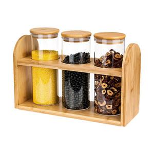 Home Storage Shelf Armazenamento de Alimentos Vidro Vasilhas Sealing Bamboo Tampa do Vidro Jars Set Biscoitos Doces especiarias Cereais Container