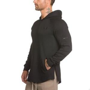 Mode Hommes culturisme Hoodies Gymnases Marque Vêtements Hommes Hoody Sweat-shirt à glissière latérale Casual Mens Fit capuche Vestes M-3XL