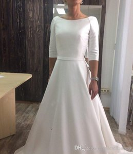 2020 White Satin Wedding Dresses Boat Neck Half Sleeves Covered Button Back Sweep Train Stain Wedding Dresses Bridal Gowns Robe De Maria
