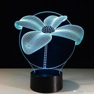 7 Farbwechsel Illusion 3D Visuelle Lotus Flower Nighttabellenschreibtischlampe Kinder Schlafzimmer Weihnachten Neujahr Party Beleuchtung Dekor