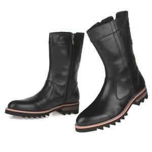 New Men Слип дополнения High Top коровьей Botas Hombre Black Brown Рабочая обувь коровьей Тенденция Botas Hombre Краткого из натуральной кожи