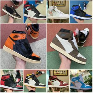 2020 Travis Scotts X Yüksek OG 1 NRG Ayakkabı Powder Blue 10X Chicago Korkusuz Erkekler Eğitmenler Beyaz Siyah Kırmızı Kraliyet Fragment UNC Spor Ayakkabılar 1s Bred