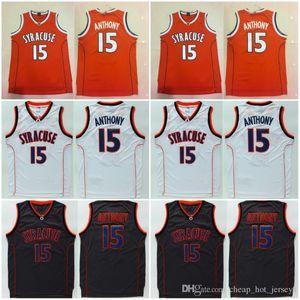 Top-Qualität Syracuse Universität NCAA Carmelo # 15 Anthony Jersey Orange Schwarz Weiß Herren Carmelo Anthony College Basketball-Trikots genähte