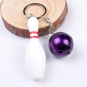 معدن جديد البولينج الكرة الحلي الرياضة أقراط البولينج الكرة سلسلة مفتاح حلقة كيرينغ المفاتيح قلادة حامل الهدايا التذكارية