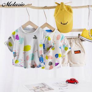 Melario Boys Giyim Yaz Bebek Boy Giyim Çocuk Günlük Moda Karikatür tişörtler ve şortlar 2adet Çocuk Giyim