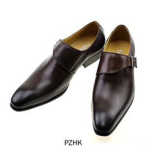 Zapatos de vestir de Diseñador marca cuoio genuino con hebilla para hombre, Correa Monje, marron, negro, para oficina