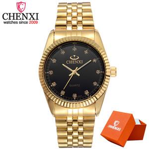 Chenxi Mode homme Montre Femme Quartz Montres de luxe d'or en acier inoxydable Montre-bracelet Lovers Dress Horloge en boîte-cadeau
