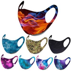 stok tasarımcı maskeleri kulak asma toz maskeleri baskı yüz maskesi Yetişkin fashiion siyah yüz maskeleri Starry gökyüzü alev kamuflaj içinde