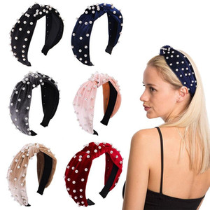 Pearl Velvet Knot Wide Hairband for Women Knotted Korean Solid Soft Headband Handmade Hair Hoop Band Girls Hair Accessories Jewelry