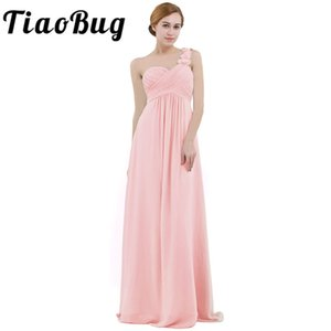 Pink Women Chiffon Bridesmaid Dress High-waist Floor Length One-shoulder Pleated Lace Wedding Party Bridesmaid Dresses Prom Gown T200604