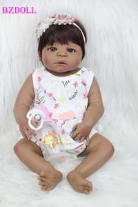 55cm Tüm Vücut Silikon Reborn Baby Doll Oyuncak 22inch Siyah Cilt Yenidoğan Kız Prenses Bebek Bebekler Bebek Çocuk batırın Oyuncak MX191030