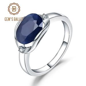 Gem Bale 925 Gümüş Alyans 3.24ct Doğal Mavi Safir Taş Yüzük İçin Kadınlar Güzel Takı J190706