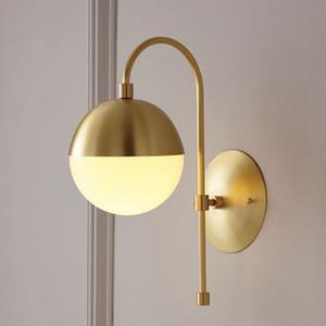 Nordic Brass lámpara de pared italiana Inicio Creative Ball Hotel Pasillo Escalera ligera de la pared de la decoración del accesorio WA227