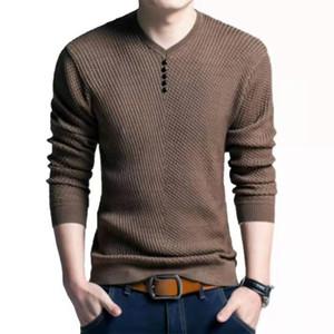 ZXK Moda Uomo Designer Maglia Uomo 2019 Stilisti di lusso solido di colore lana con scollo a V a maniche lunghe maglione Blended