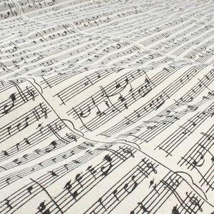 الموسيقى ملاحظة مطبوعة الكتان نسيج القطن مفرش ديكور المنزل المواد الحرفية 150CM بيع واسعة من قبل الفناء