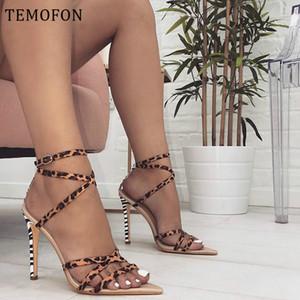 TEMOFON mujeres talones señoras atractivas de las bombas de las mujeres peep toe zapatos de tacones altos sandalias de gladiador leopardo del verano de tacón de aguja zapatos HVT1215