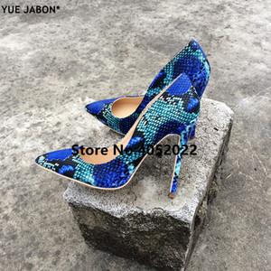 YUE JABON 2018 Mode Femme Chaussures Serpent Imprimé Femme Chaussures Sexy Stilettos Talons Hauts 8/10 / 12cm Bout Pointu Femmes Pompes 3 couleur