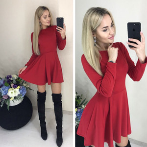 Primavera casuale delle donne O-collo misura e del chiarore Pockets manica lunga Mini sottile sveglio del partito Vestito dall'annata Nero Rosso colore Vestidos