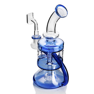 Blue bong Dab rig Glass Water Pipe recycler oil rig 14mm banger bubbler hookah heady percolator for smoking accessories dabs