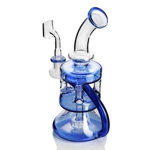 Dab plataforma azul bong de cristal del tubo de agua de la plataforma petrolera reciclador 14mm cacharro burbujeador pipa de agua para fumar embriagadora percolador accesorios lenguados