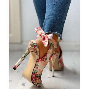 2020 Yeni Kadın yaz İnce Yüksek Topuklar Peep Toe gladyatör ofis sandaletler parti ayakkabı pompaları işlemeli