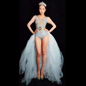 Glisten Crystals White Jumpsuit Sexy Mesh Donna Outfit Nightclub Femminile Cantante Costume Stage Dance DS Abbigliamento Performance Novità
