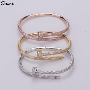 gioielli Donia Oume braccialetto chiodo a tre colori galvanica di lusso esagerato micro intarsiato braccialetto zircone personalità della moda
