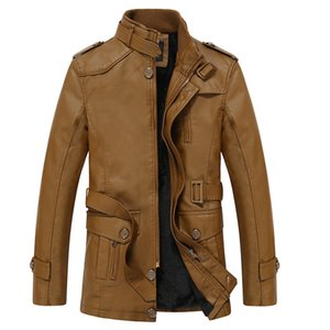 Hot Selling Men Casual Leather Coat Middle-aged Brushed And Thick Warm Leather Jacket Mid-length Leather Wind Coat Coat