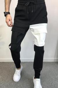 رجل أنيق مصمم السراويل جيوب مصمم قلم رصاص سروال مطاطا الخصر طويل بنطلون عداء ببطء سروال