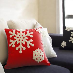 Noël Taie d'oreiller brodé flocon de neige 45 * 45cm de luxe Décoration Coton Coussin Sofa Décoration de Noël Coussin Case
