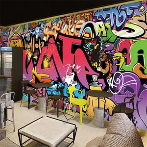 Frete grátis Grande mural fundo bar corredor wallpaper Cafe arte da rua dos grafittis quarto 3D papel de parede mural