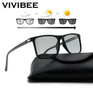 VIVIBEE Homens avançadas fotossensíveis Sunglasses TAC polarizado TR90 leve quadrado Armações de transição Cores condução óculos de sol Y200415