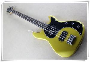 4 Strings Maun HH Transfer, Krom Donanım, Siyah Pickguard Altın Vücut Elektrik Bas Gitar, özelleştirilebilir