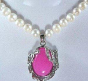 necklac Orijinal Beyaz İnci Pembe Jade gümüş kolye kolye