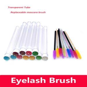 Makeup Brush Eyelash Extender Disposable Eyebrow Brush Transparent Tube Design Charming Diamond Bottom Mascara Stick Applicator