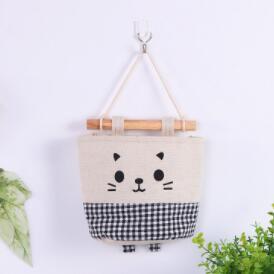 Burlap мешки для хранения стене висит мультфильм Cat Printed Висячие сумка Декоротивно сумки Галантерея Сортировка сумки Хозяйственные товары 5 Designs LQPYW466