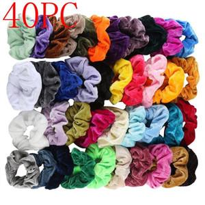 40 Stück Samt weiche elastische Haar-Gummibänder Halter Tie Seil für Frauen Mädchen Scrunchie crunchies Haarschmuck Ring Pferdeschwanz
