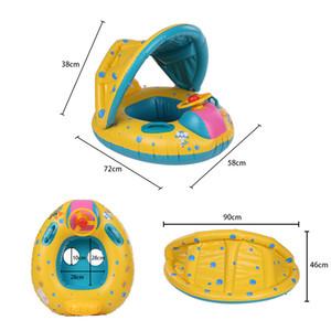 Großhandels-Sommer-Baby-Schwimmen-Ring Aufblasbarer Ring Einstellbare Sonnenschirm Sitz Pool Float Newborns Baden Kreis aufblasbare Räder