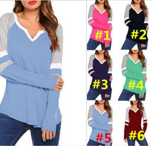 Plus Size Mulheres Striped T-shirt Primavera Outono Casual manga comprida Painéis soltas Stripe Imprimir V-neck Senhora Tops retalhos Blusas 2019